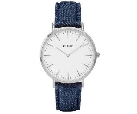 Zegarek damski Cluse La Bohème Silver White/Blue Denim CL18229