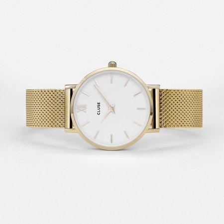 Zegarek damski Cluse Minuit Mesh Gold White CL30010