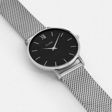 Zegarek damski Cluse Minuit Mesh Silver/Black CL30015