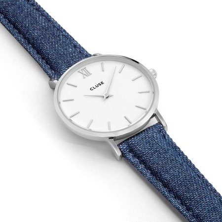 Zegarek damski Cluse Minuit Silver White/Blue Denim CL30030